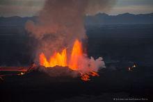 Holuhraun volcanic eruption aerial view, Iceland