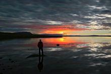Bárðarbunga, Dyngjujökull, Iceland, aurora borealis, gas cloud, glow, glowing, green, night, northern lights, red glow, road, track, wide open