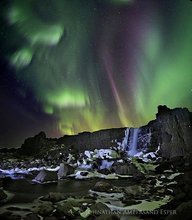 Aurora Borealis,Iceland,Northern Lights,Silfra crack,Thingvellir,aurora,crack,falls,icy,tectonic plate,waterfall,winter,Öxararfoss,Þingvellir,Þingvellir National Park,,Öxararfoss,Þin