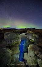 Aurora Borealis,Iceland,Northern Lights,Silfra crack,Thingvellir,aurora,band,blue,crack,green,light,light painting,sky,stars,tectonic plate,winter,ީngvellir,ީngvellir National Park,,