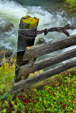 Wooden fence detail in northern Iceland