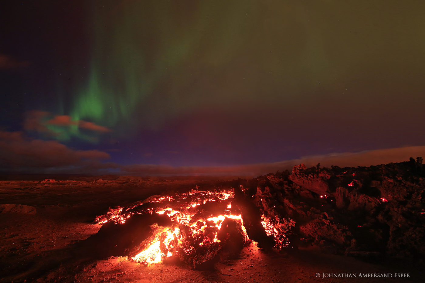 2014, Baugur, Bárðarbunga, Holuhraun, Iceland, aurora borealis, crater, erupting, eruption, flow, glow, lava, northern lights, red, red glow, sky, photo