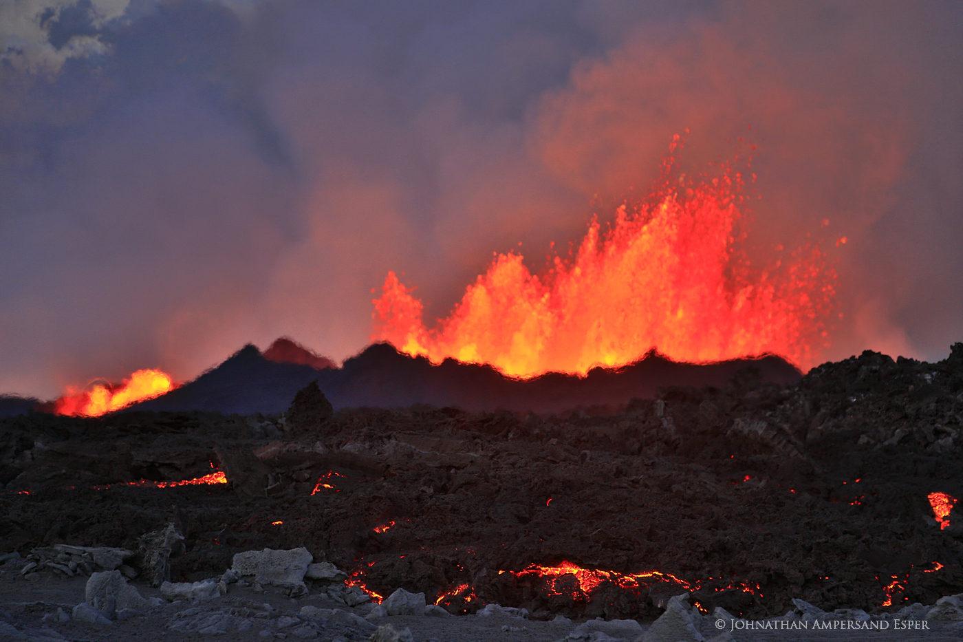 The Holuhraun eruption in 2014, Iceland, at dusk