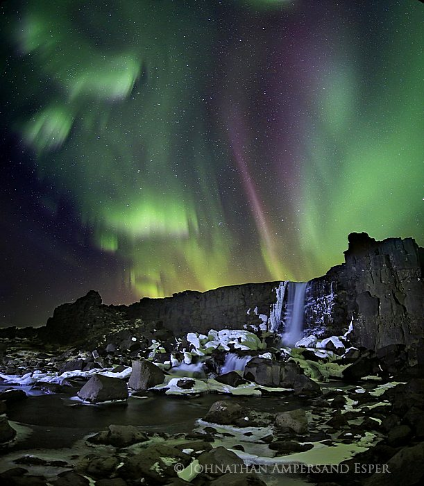 Aurora Borealis,Iceland,Northern Lights,Silfra crack,Thingvellir,aurora,crack,falls,icy,tectonic plate,waterfall,winter,Öxararfoss,Þingvellir,Þingvellir National Park,,Öxararfoss,Þin, photo