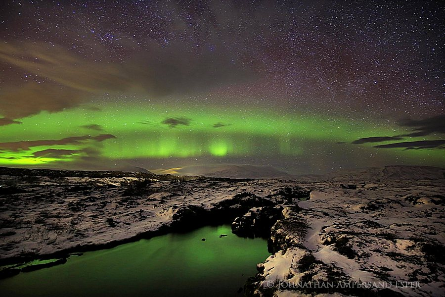 Aurora Borealis,Iceland,Northern Lights,Silfra crack,Thingvellir,aurora,band,crack,green,sky,stars,tectonic plate,winter,ީngvellir,ީngvellir National Park,,, photo