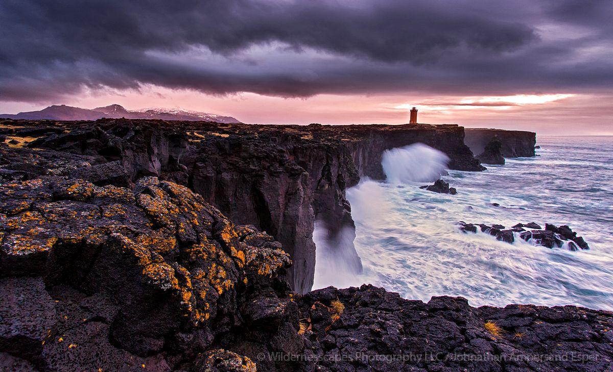 Svörtuloft Lighthouse, Snaefellsness Peninsula, stormclouds, waves,lighthouse,Iceland,Icelandic,storm,ocean,sea cliffs,seacliff,