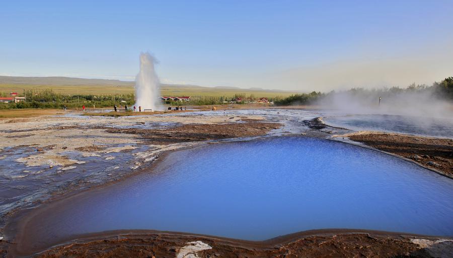 Strokkur,geyser,geysir,Iceland,Icelandic,Blesi,pool,geothermal,blue,amazing,bright,water,erupting,, photo
