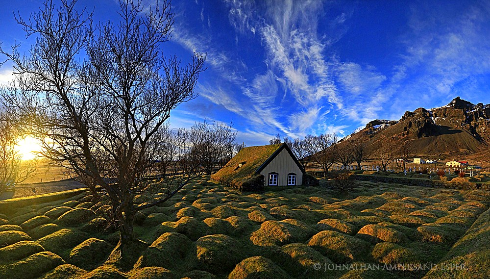 Hofskirkja country church, with turf covered graves, Iceland